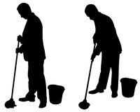 Men with mops Stock Photography