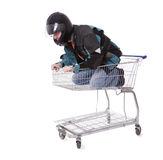 Men in motorcycle jacket in shopping cart Royalty Free Stock Photography