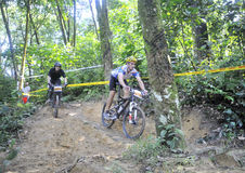 Men Mountain Bike Racer Stock Photo