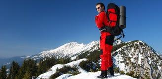 Men on a mountain ridge - Romania mountaineering Stock Photos