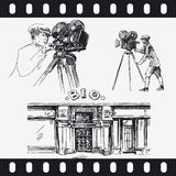 Men with movie camera Stock Image