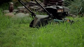 Men mowing grass with a lawn mower stock video