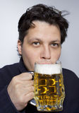 Men with mug of beer stock images