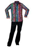 Men  multicolor shirt  and jeans Stock Photography