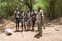 Men of the Mursi tribe. Stock Photo