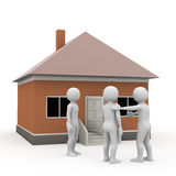 Men near the house, 3d rendering Royalty Free Stock Photo