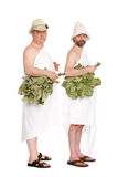 Men with oak twigs for the Russian bath Royalty Free Stock Image
