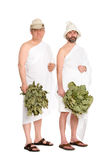 Men with oak twigs for the Russian bath Royalty Free Stock Photography