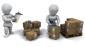 Men packing boxes for shipment Stock Image