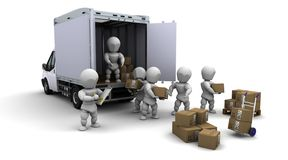 Men packing boxes for shipment Royalty Free Stock Image