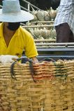 Men Packing Pineapples. Thai laborers loading pineapples into a large basket Royalty Free Stock Images