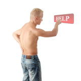 Men with pain in his back coling for help. Men with pain in his back calling for help by presing button on abstract screen Royalty Free Stock Images