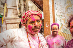 Men with a painted face celebrating Holi festival in India Royalty Free Stock Photography