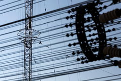 Men painting the highest Czech construction radio transmitter tower Liblice Stock Photography