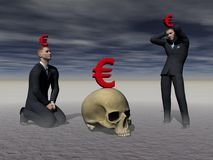 Men panics in front of the crisis - 3d render Royalty Free Stock Images