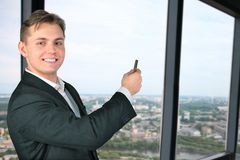 Men and the panorama of the city. Smiling men and the panorama of city Stock Photography