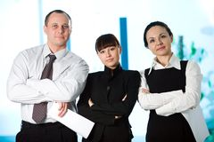 Men with paper and nice girl with women Royalty Free Stock Image