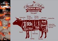 Menú para asar a la parrilla con los filetes y la vaca Imagenes de archivo