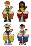 Men percussionists playing congas Stock Images