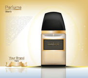 Men Perfume bottle Cosmetic ads template, droplet bottle mock up  on gold background. Place for brand text Royalty Free Stock Images