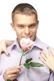 Men with the pink rose Royalty Free Stock Photo