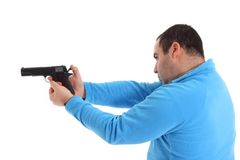 Men with Pistol Stock Photo