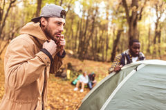Men pitching tent in autumn forest Royalty Free Stock Image