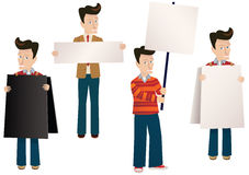 Men with placards and banners stock photography