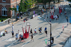 Men Play In Basketball Tournament On City Street Royalty Free Stock Photography