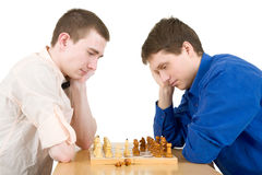 Men play chess royalty free stock photo