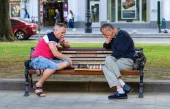 Men play chess. Royalty Free Stock Photo