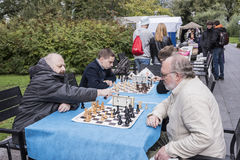Men play chess in the park Muzeon Royalty Free Stock Image