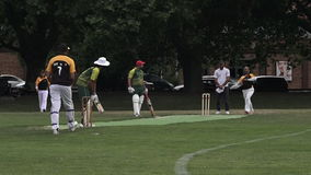Men play Cricket in Victoria park Auckland, New Zealand stock video footage