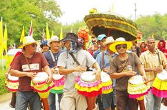 Men play Thailand local tom-tom in the parade Stock Images