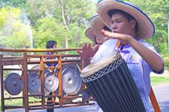 Men play Thailand local tom-tom in Thailand Stock Photos