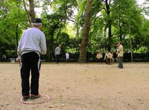 Men playing boules at Luxembourg Gardens, Paris Royalty Free Stock Images