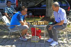 Men are playing chess outdoor in Sofia, Bulgaria stock image