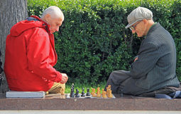 Men are playing chess outdoor in Yekaterinburg, Russia Royalty Free Stock Photography