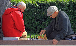 Men are playing chess outdoor in Yekaterinburg, Russia Stock Photography