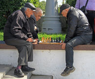 Men are playing chess outdoor in Yekaterinburg, Russia Stock Image