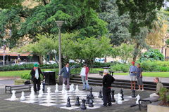 Men playing chess in park. A cultural diversity of men playing chess in Sydneys Hyde Park. Street photography Royalty Free Stock Photo