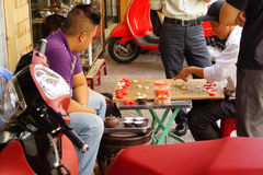 Men playing Chinese chess game Royalty Free Stock Photography