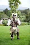 Men playing drum, African traditional folk dance. NANYUKI, KENYA-OCTOBER 17: A group of people performs African traditional folk dance at Mount Kenya Safari Club Royalty Free Stock Images