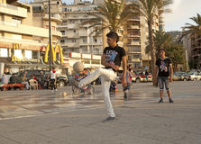 Men playing football, Beirut. Men playing football in the streets of Beirut Royalty Free Stock Photos