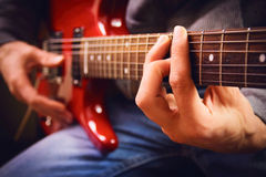 A men playing guitar Royalty Free Stock Photo