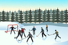 Men playing ice hockey outdoor. A vector illustration of men playing ice hockey on an outdoor ice rink Stock Image