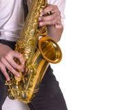 Men playing saxophone. Royalty Free Stock Image