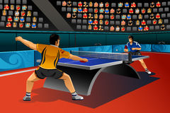 Men Playing Table Tennis in the Competition. A vector illustration of men playing table tennis in the competition for sport competition series Stock Image
