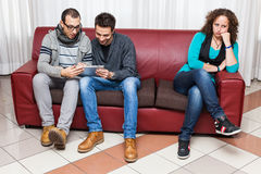 Men Playing with Tablet PC Stock Images