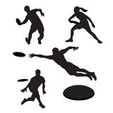 Men playing ultimate frisbee 4 silhouettes Stock Photography